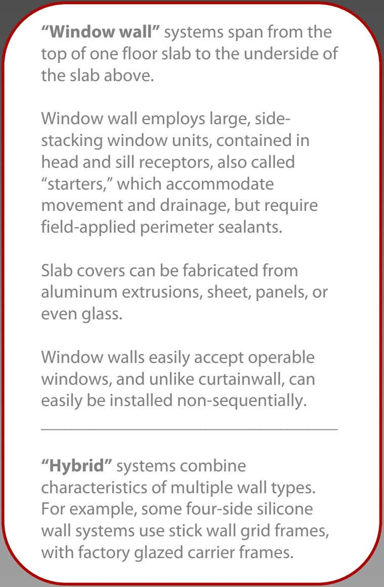 """Window wall"" systems span from the top of one floor slab to the underside of"