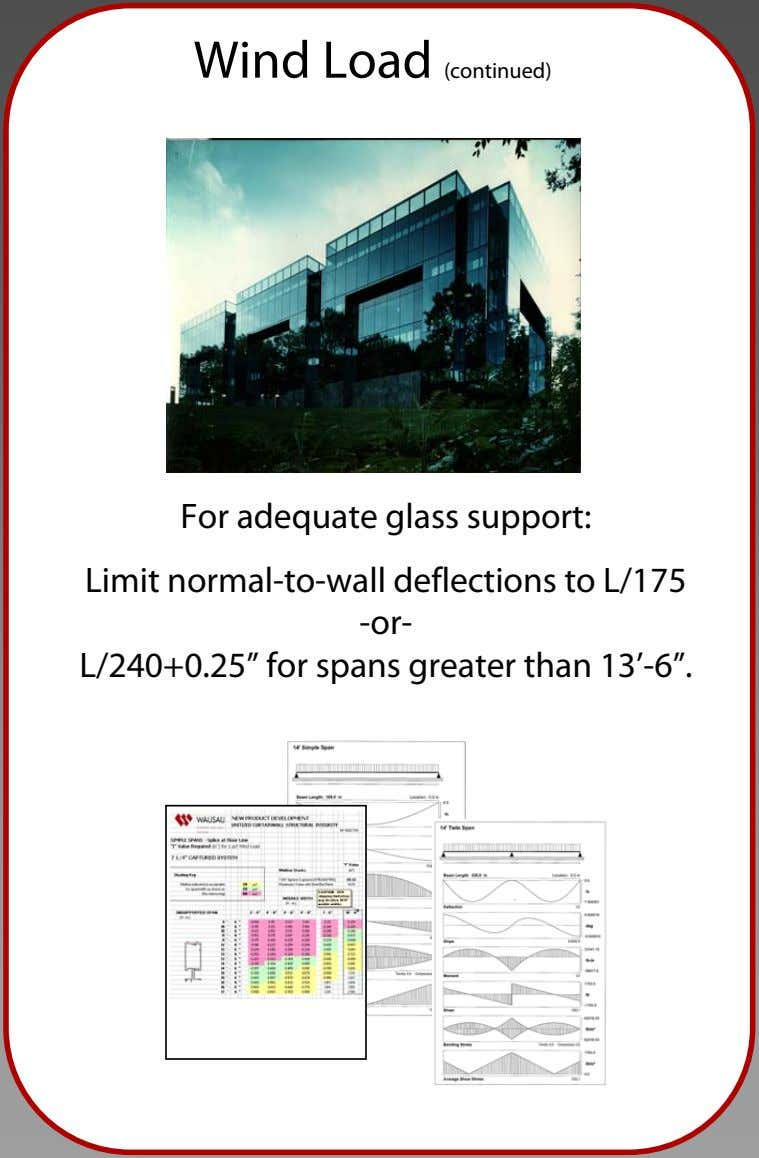 "Wind Load (continued) For adequate glass support: Limit normal-to-wall deflections to L/175 -or- L/240+0.25"" for"