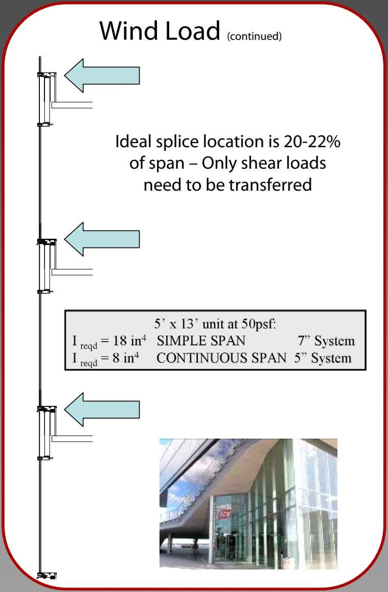Wind Load (continued) Ideal splice location is 20-22% of span – Only shear loads need
