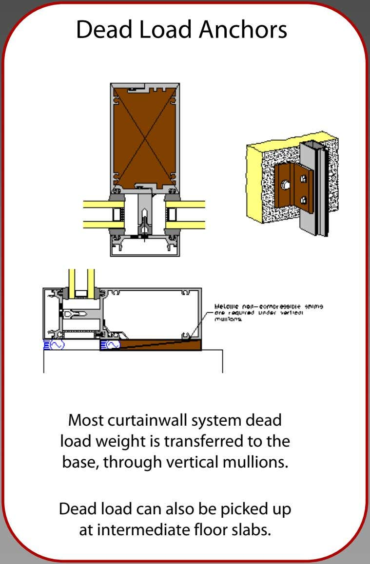 Dead Load Anchors Most curtainwall system dead load weight is transferred to the base, through