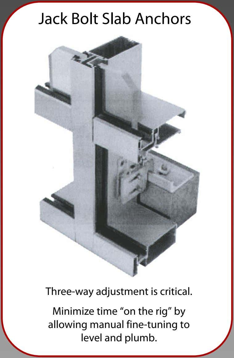 "Jack Bolt Slab Anchors Three-way adjustment is critical. Minimize time ""on the rig"" by allowing"