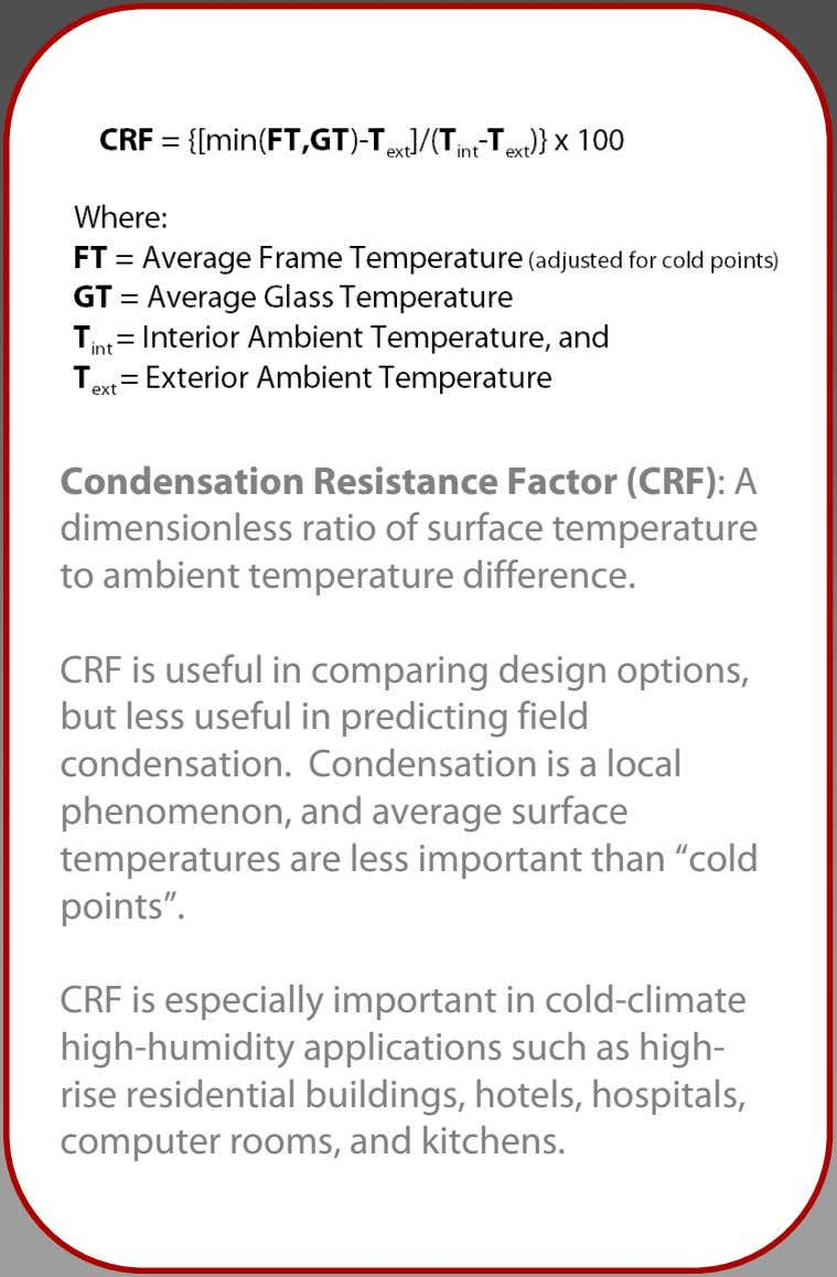 Condensation Resistance Factor (CRF): A dimensionless ratio of surface temperature to ambient temperature difference.