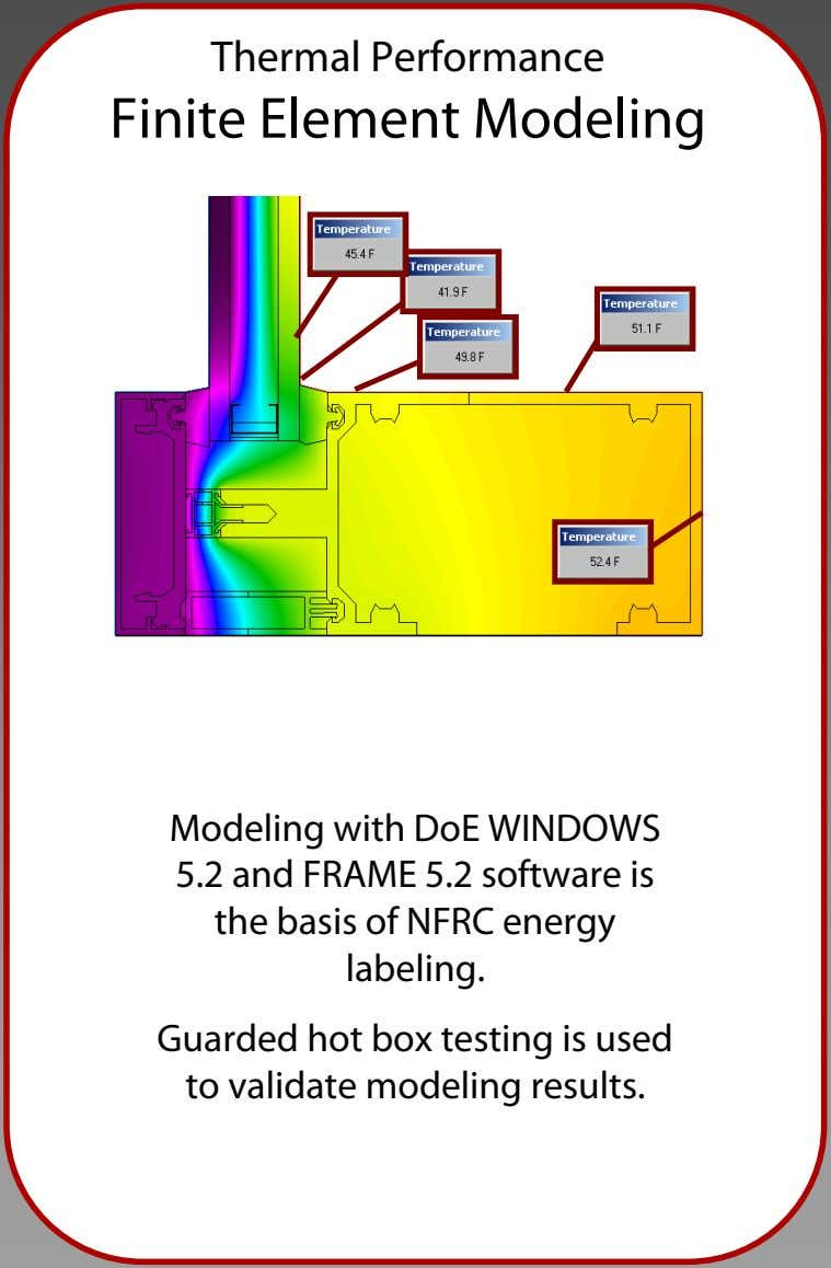 Thermal Performance Finite Element Modeling Modeling with DoE WINDOWS 5.2 and FRAME 5.2 software is