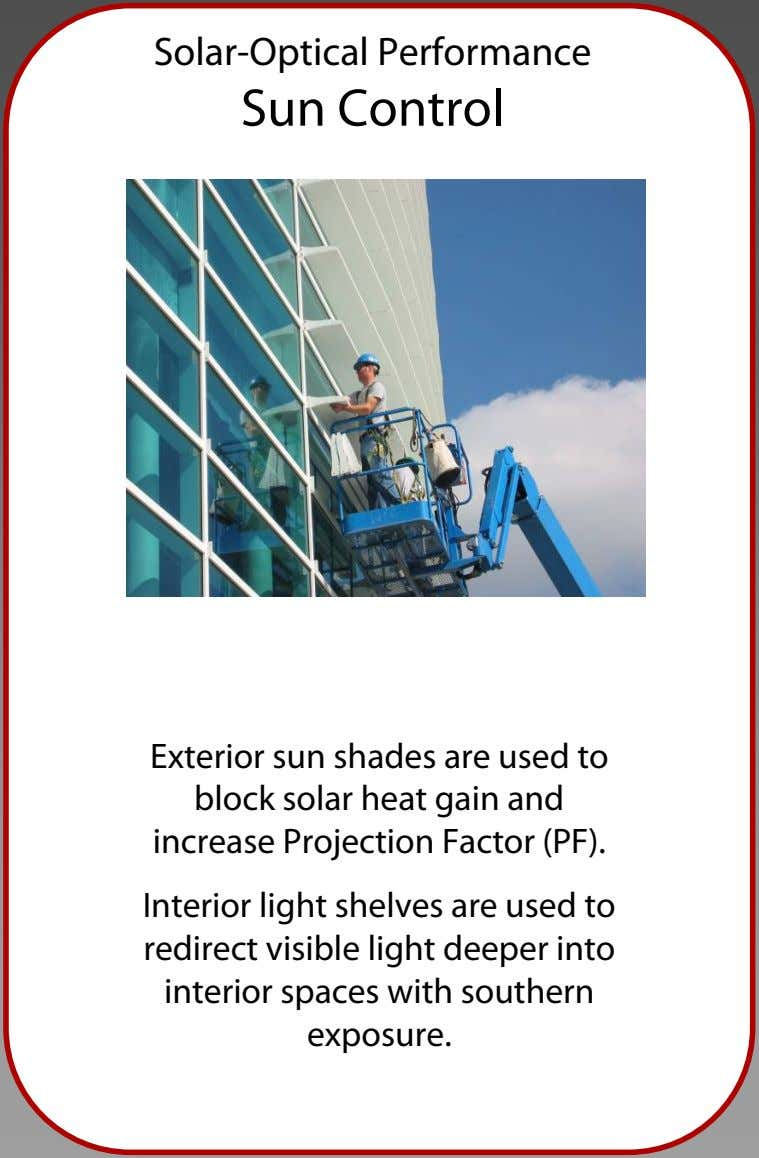 Solar-Optical Performance Sun Control Exterior sun shades are used to block solar heat gain and