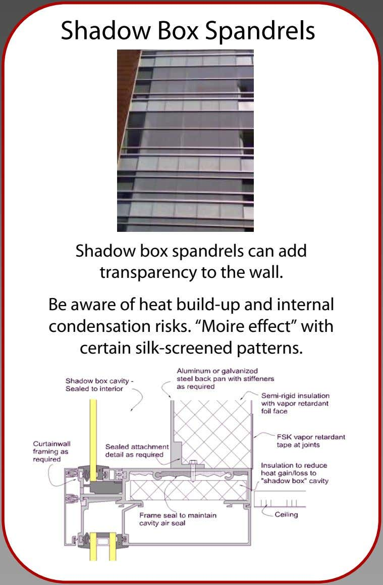 Shadow Box Spandrels Shadow box spandrels can add transparency to the wall. Be aware of
