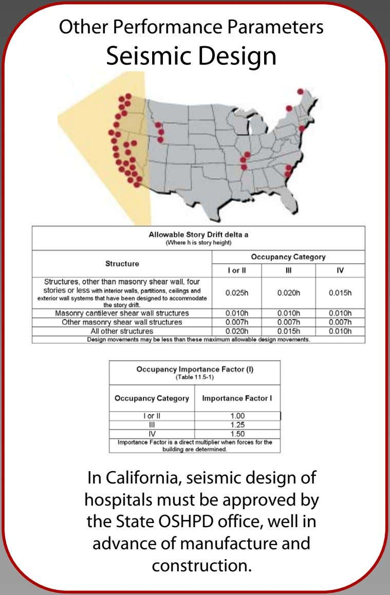 Other Performance Parameters Seismic Design In California, seismic design of hospitals must be approved by