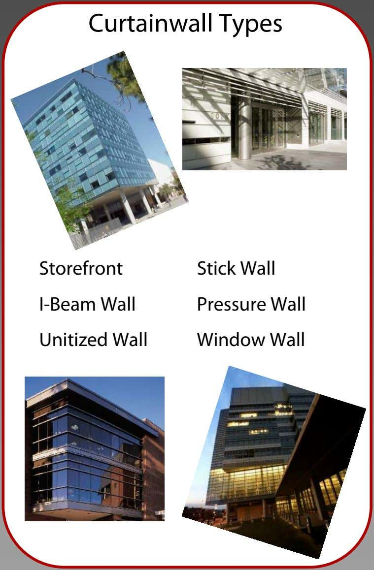 Curtainwall Types Storefront I-Beam Wall Unitized Wall Stick Wall Pressure Wall Window Wall