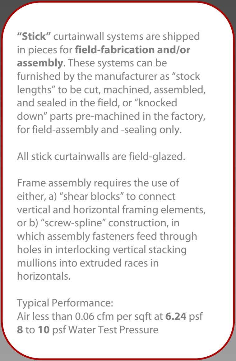 """Stick"" curtainwall systems are shipped in pieces for field-fabrication and/or assembly. These systems can be"