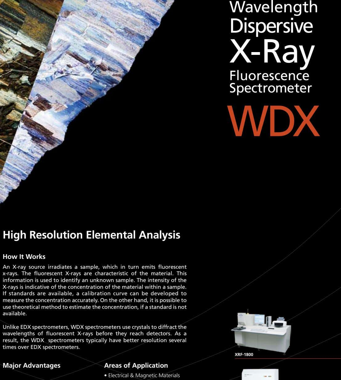 Wavelength Dispersive X-Ray Fluorescence Spectrometer WDX High Resolution Elemental Analysis How It Works An X-ray