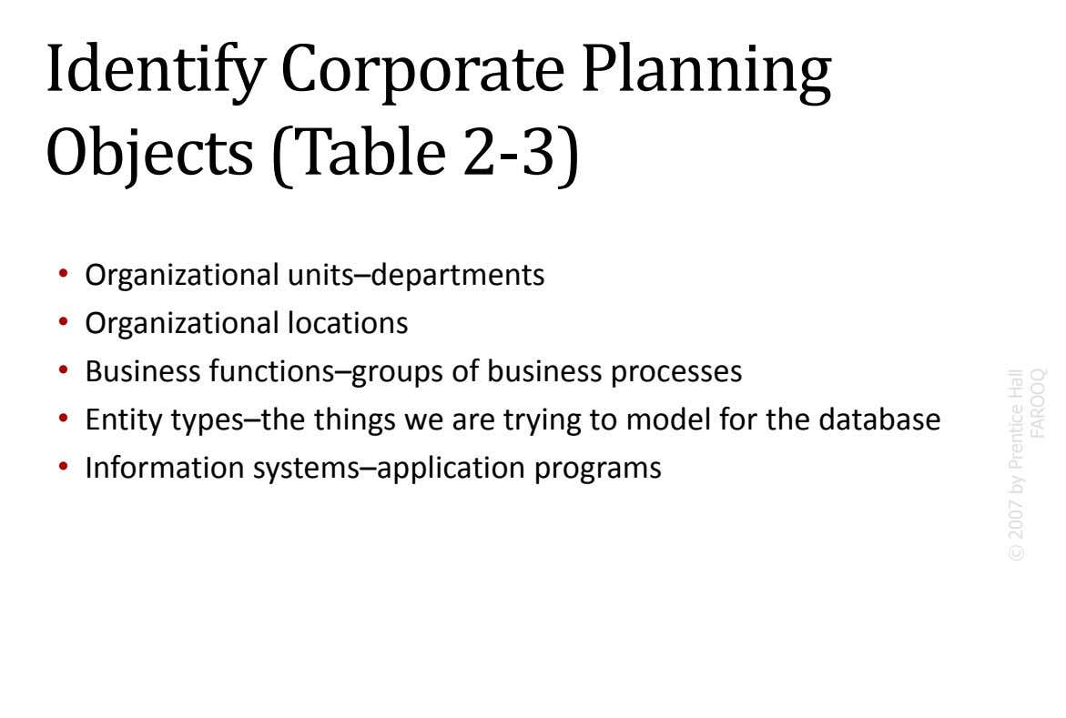 Identify Corporate Planning Objects (Table 2-3) • Organizational units–departments • Organizational locations • Business functions–groups of