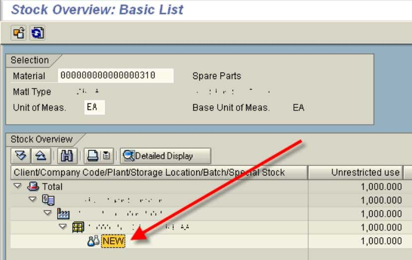 Note that the batch field is used! 5. Stock Overview - MMBE --------------- END OF DOCUMENT