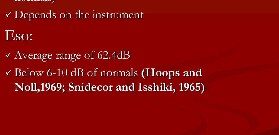  Average range of 62.4dB  Below 6-10 dB of normals (Hoops and Noll,1969; Snidecor