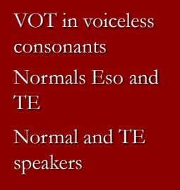 VOT in voiceless consonants Normals Eso and TE Normal and TE speakers