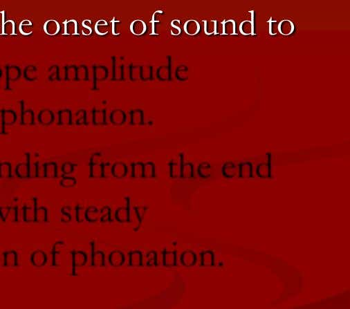 from the end of the envelope amplitude with steady phonation to the termination of phonation. KUNNAMPALLIL