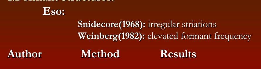 Eso: Snidecore(1968): irregular striations Weinberg(1982): elevated formant frequency Author Method Results
