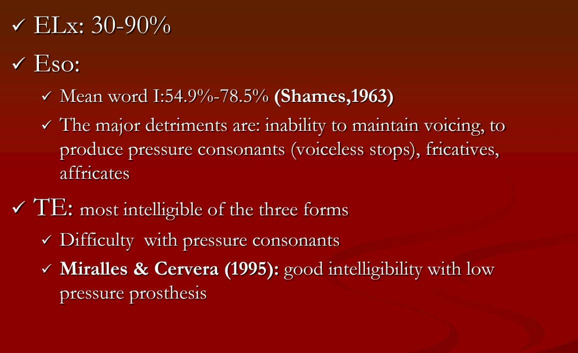  ELx: 30-90%  Eso:  Mean word I:54.9%-78.5% (Shames,1963)  The major detriments are: