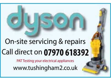 On-site servicing & repairs Call direct on 07970 618392 PAT Testing your electrical appliances www.tushingham2.co.uk