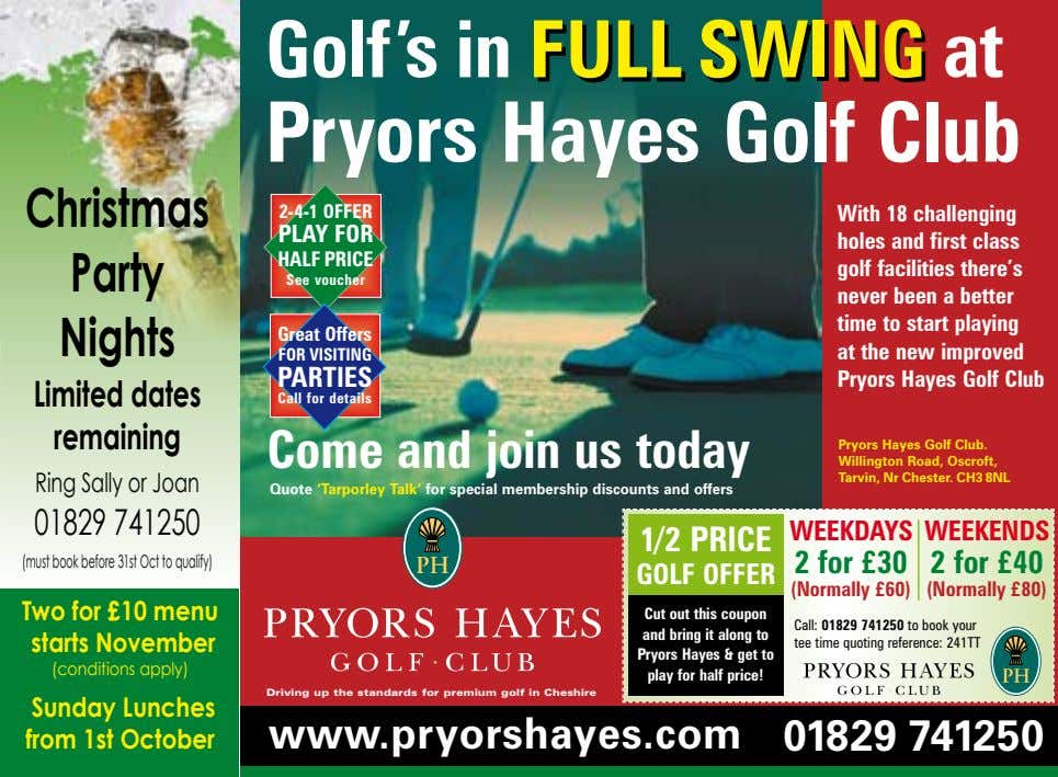 Golf's in FULLFULL SWINGSWING at Pryors Hayes Golf Club Christmas 2-4-1 OFFER PLAY FOR HALF