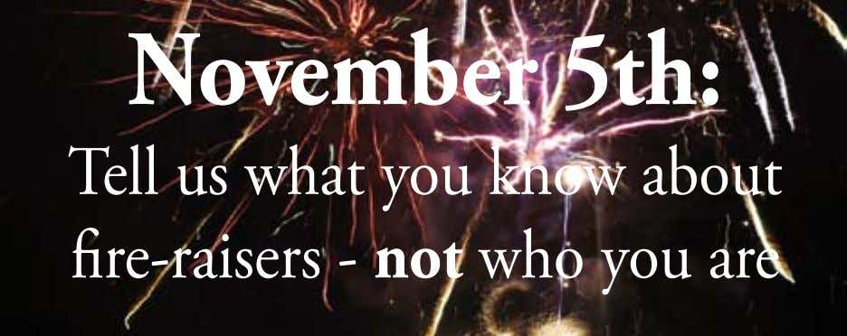 November 5th: Tell us what you know about fire-raisers - not who you are
