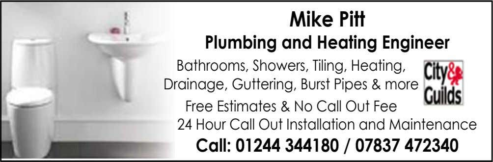 Mike Pitt Plumbing and Heating Engineer Bathrooms, Showers, Tiling, Heating, Drainage, Guttering, Burst Pipes &