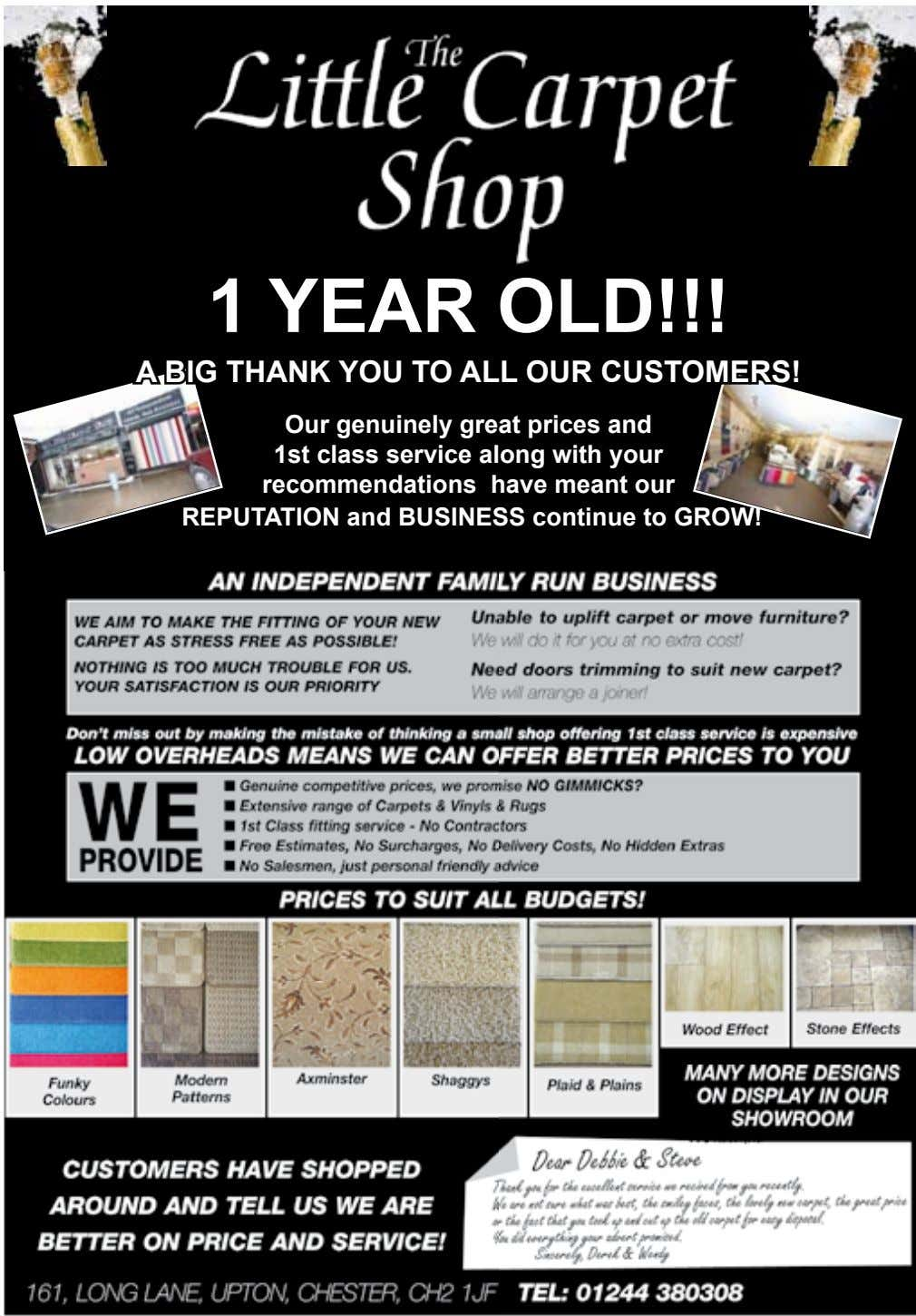 1 YEAR OLD!!! A BIG THANK YOU TO ALL OUR CUSTOMERS! Our genuinely great prices