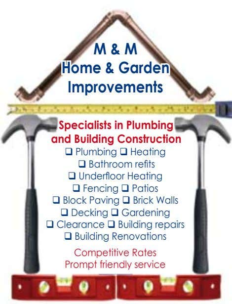 M & M Home & Garden Improvements Specialists in Plumbing and Building Construction q Plumbing