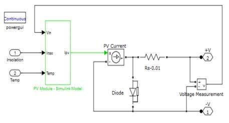 fig.12. The circuit model of PV module is given in fig. 13. Fig. 12 Detailed Circuit