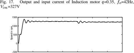 Fig. 17. Output and input current of Induction motor =0.35, =42Hz, =327V 1500 1000 500