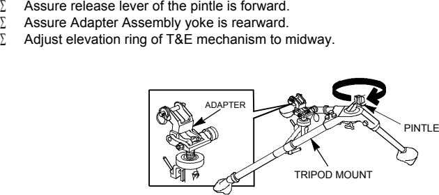 Assure release lever of the pintle is forward. Assure Adapter Assembly yoke is rearward. Adjust
