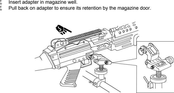 Insert adapter in magazine well. Pull back on adapter to ensure its retention by the