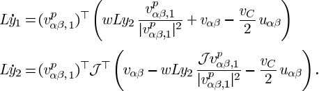 to unity. In this case the time derivatives are given by The angles relations and are