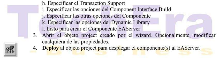 h. Especificar el Transaction Support i. Especificar las opciones del Component Interface Build j. Especificar