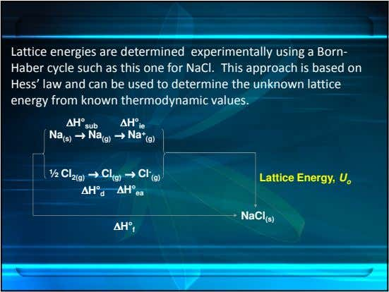 Lattice energies are determined experimentally using a Born- Haber cycle such as this one for