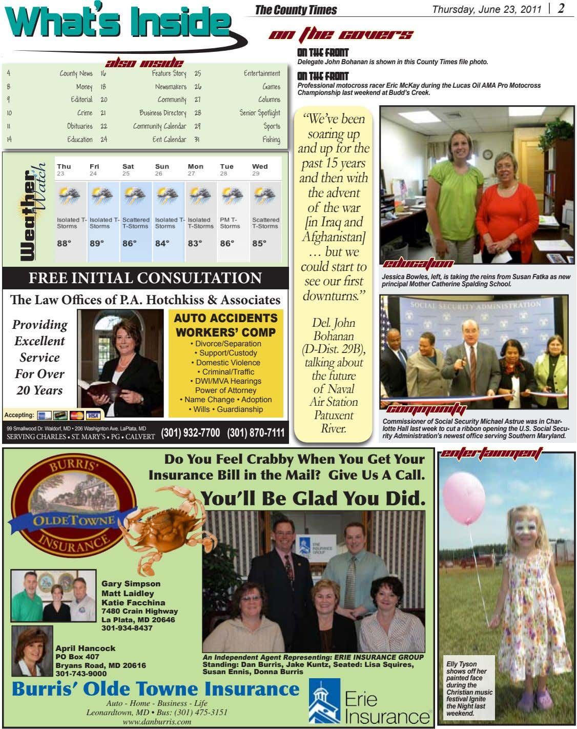 The County Times Thursday, June 23, 2011 2 What'sWhat's InsideInside On The Covers ON THE