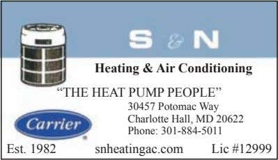 "Heating & Air Conditioning ""THE HEAT PUMP PEOPLE"" 30457 Potomac Way Charlotte Hall, MD 20622"