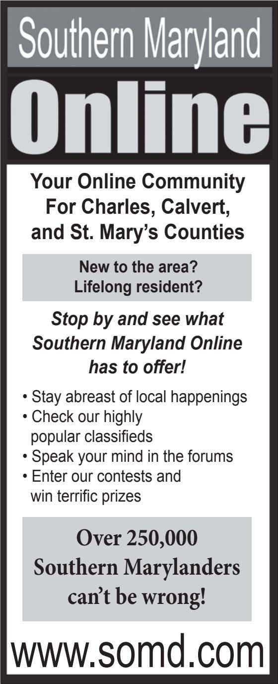 Your Online Community For Charles, Calvert, and St. Mary's Counties New to the area? Lifelong