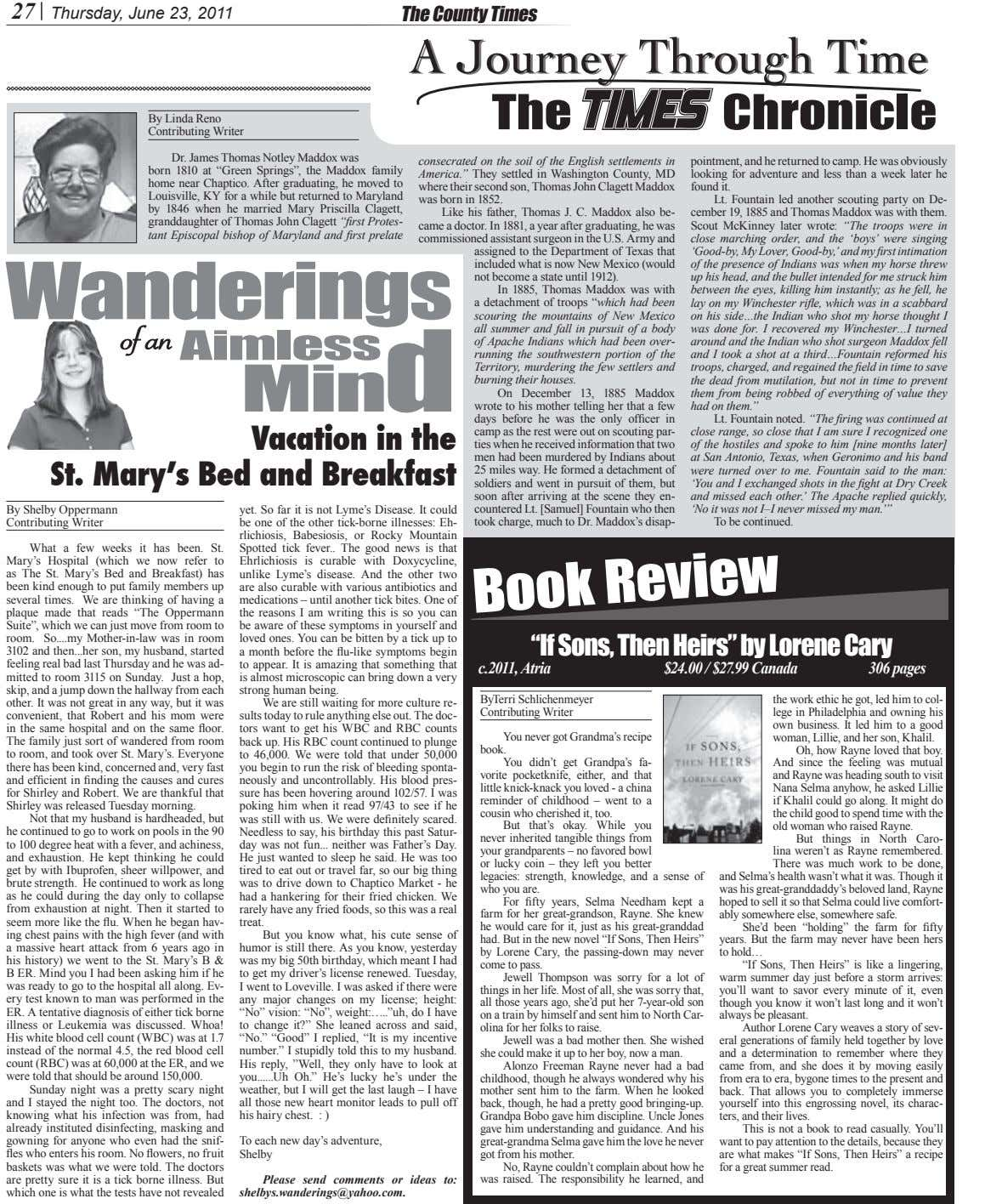 27 Thursday, June 23, 2011 The County Times AA JourneyJourney ThroughThrough TimeTime The Chronicle By