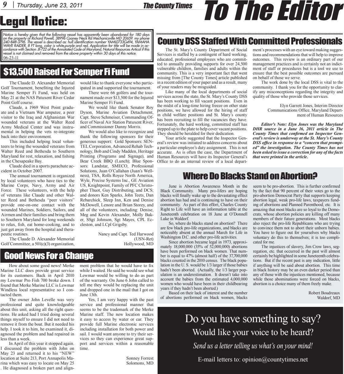 9 Thursday, June 23, 2011 The County Times To The Editor Legal Notice: Notice is