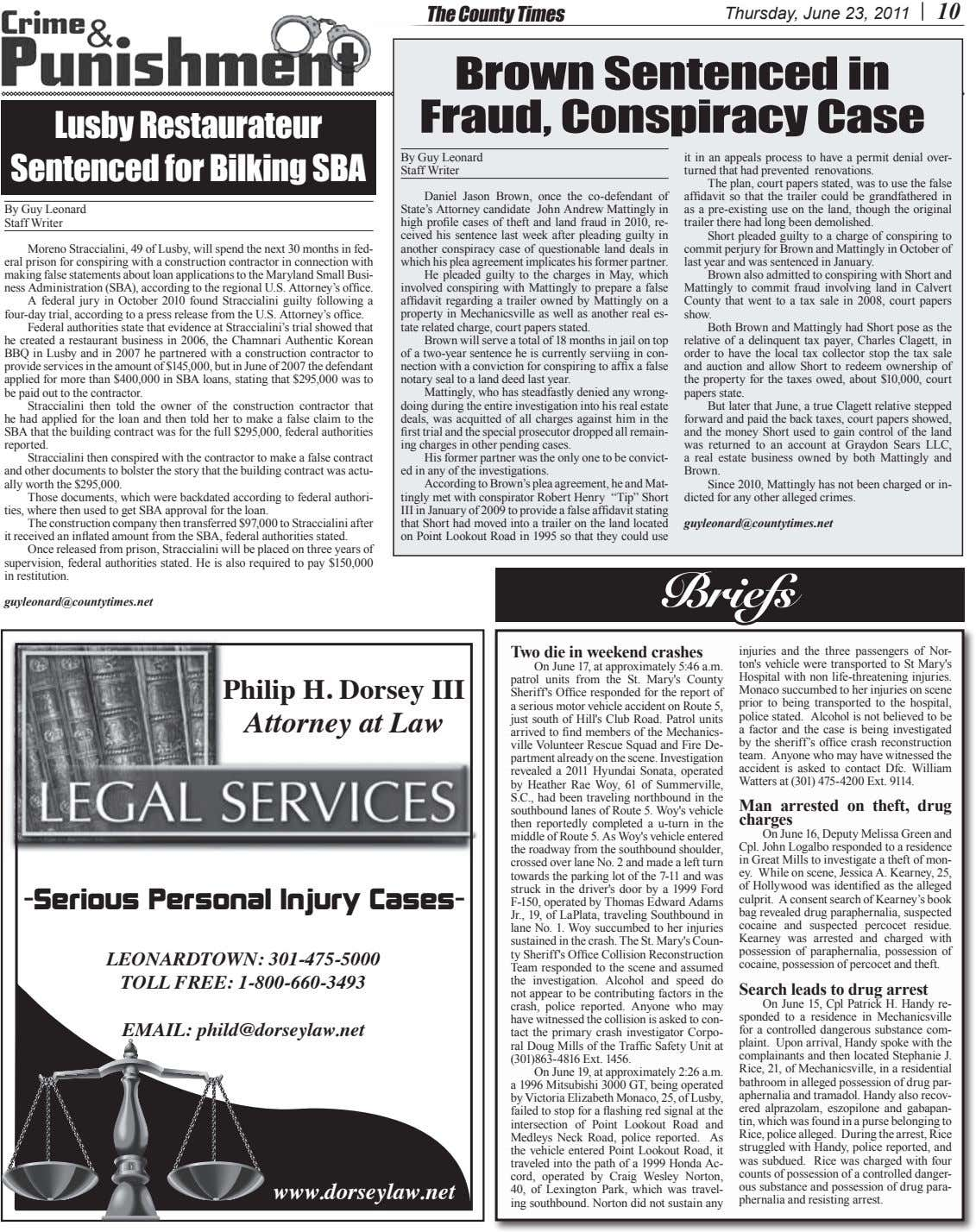 The County Times Thursday, June 23, 2011 10 Brown Sentenced in Fraud, Conspiracy Case Lusby