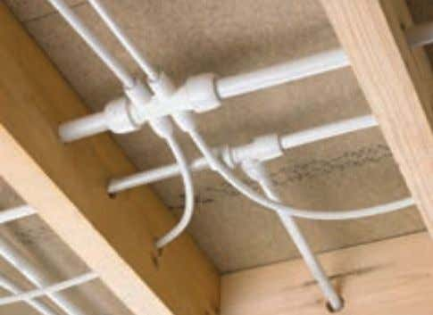 because pipework can be easily cabled through drilled joists The exceptional flexibility of Hep 2 O
