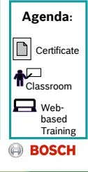 Agenda: Certificate Classroom Web- based Training