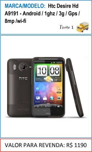 MARCA/MODELO: Htc Desire Hd A9191 - Android / 1ghz / 3g / Gps / 8mp
