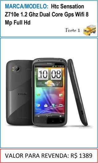 MARCA/MODELO: Htc Sensation Z710e 1.2 Ghz Dual Core Gps Wifi 8 Mp Full Hd VALOR