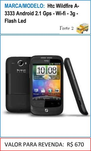 MARCA/MODELO: Htc Wildfire A- 3333 Android 2.1 Gps - Wi-fi - 3g - Flash Led