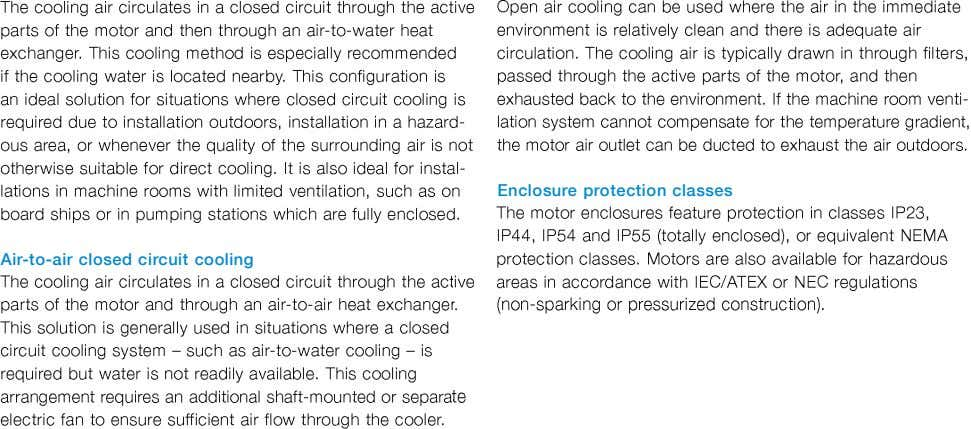 Enclosure protection classes Air-to-air closed circuit cooling