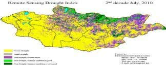 > 0.8 – non drought very good summering condition. Figure 2. RSDI maps of Mongolia Based