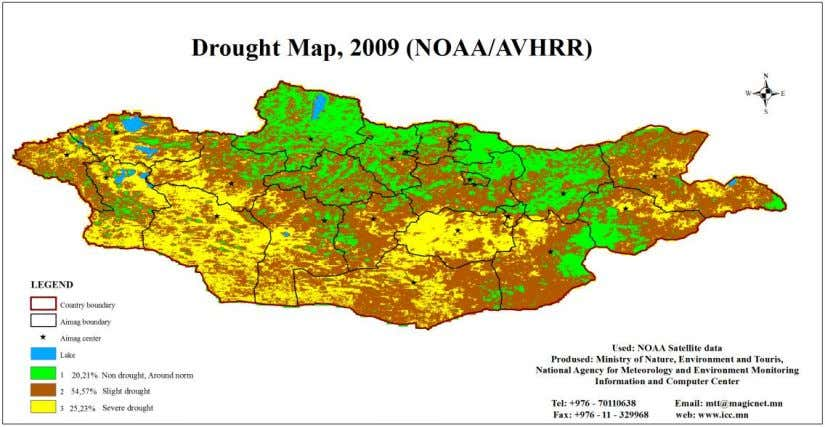of Mongolia using remote sensing and GIS techniques. Figure 3. Yearly drought map of Mongolia, 2009