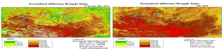 moderate drought, severe drought and extreme drought. Figure 4. Three decades and monthly NDDI maps of