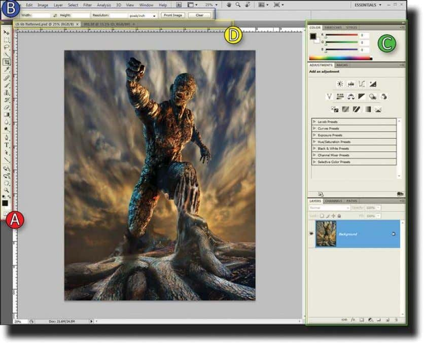 Interface Overview 5 Figure 1.1 Photoshop interface This functionality gives users easier ways to navigate