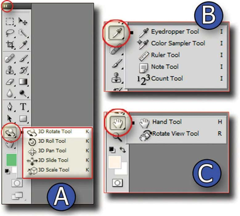 View tool is also listed under the Hand tool (see Figure 1.10C). Figure 1.10 View of